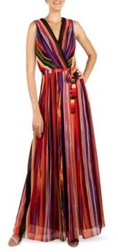Donna Ricco Striped V-Neck Maxi Dress