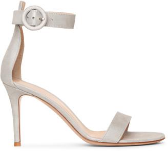 Gianvito Rossi Portofino 85 silver suede sandals