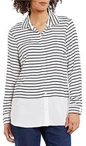 Westbound Point Collar Long Sleeve Button-Front Striped Shirt