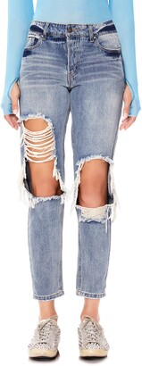 AFRM Cyrus Ripped High Waist Ankle Jeans