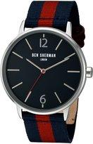 Ben Sherman Men's 'Portobello Stripe' Quartz Stainless Steel and Leather Automatic Watch, Multi Color (Model: WB044UA)