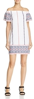 Aqua Off-the-Shoulder Embroidered Dress - 100% Exclusive