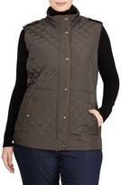Lauren Ralph Lauren Plus Size Women's Faux Leather Trim Quilted Vest