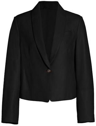 Brunello Cucinelli Leather Crop One-Button Jacket