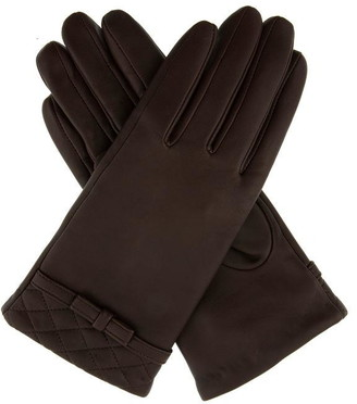 Dents Womens Quilted Cuff Leather Gloves