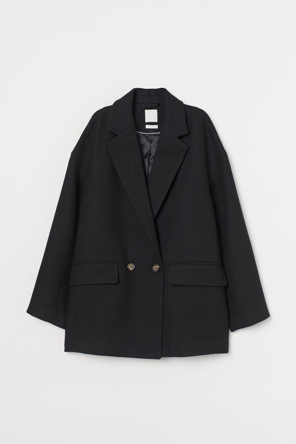 H&M Double-breasted Jacket - Black