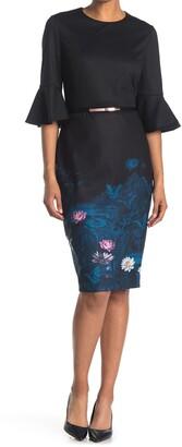 Ted Baker Wonderland Belted 3/4 Sleeve Sheath Dress