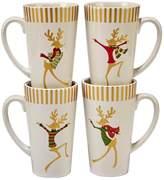 Certified International Gold Dancing Reindeer 4-pc. Latte Mug Set