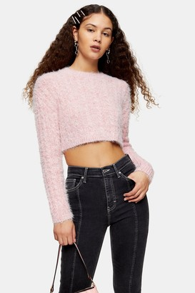 Topshop Pink Fluffy Cable Crop Knitted Jumper