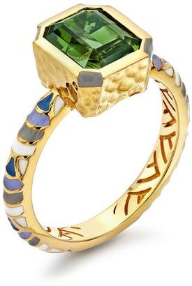 BUDDHA MAMA 20kt Yellow Gold Tourmaline Enamel Ring