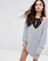 Boohoo V Neck Sweater Mini Dress
