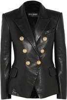 Balmain Double-breasted Leather Blazer - Black
