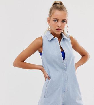 Reclaimed Vintage inspired denim boilersuit with raw hem-Blue