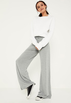 Missguided Grey Jersey Casual Wide Leg Trousers