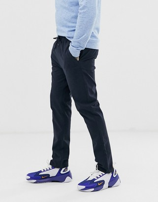 ASOS DESIGN slim chinos with elasticated waist in navy