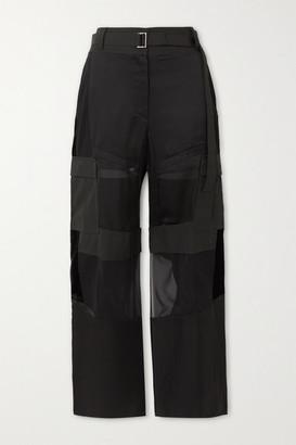 Sacai Paneled Velvet, Satin, Chiffon And Cotton-twill Pants