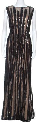 Tadashi Shoji Black Mesh Sequinned Sleeveless Gown L