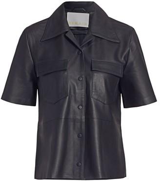 Remain Birger Christensen Siena Short-Sleeve Leather Shirt