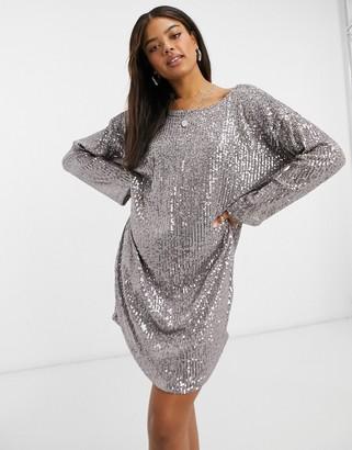 ASOS DESIGN padded shoulder long sleeve v back sequin mini dress in gunmetal