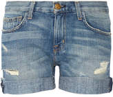 Current/Elliott The Boyfriend Distressed Denim Shorts - Light denim