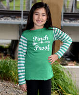 Beary Basics Green & White 'Pinch Proof 'Long-Sleeve Tee - Toddler & Girls