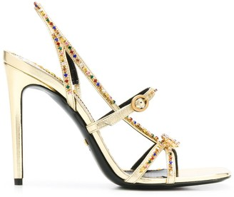 Gucci Crystal-Embellished Metallic Sandals