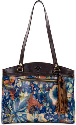 Patricia Nash Blue Clay Poppy Leather Tote