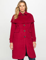ELOQUII Plus Size Studio Tulip Hem Coat with Cape