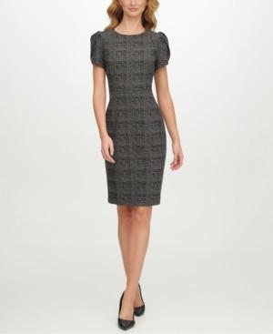Calvin Klein Plaid Tulip-Sleeve Sheath Dress