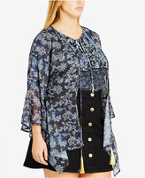 City Chic Trendy Plus Size Chiffon Cardigan