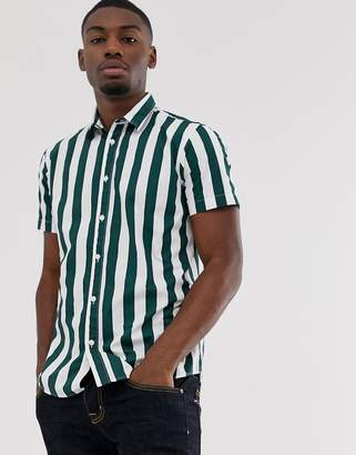 Selected deck chair stripe short sleeve shirt in green