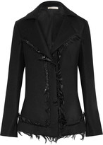 Nina Ricci Faux feather-trimmed twill jacket