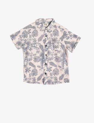 Koton Boy's Hemd mit Blattmuster Shirt