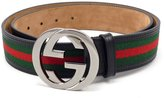 Gucci 100% Authentic GG Silver Buckle Black leather belt Green/Red/Green ...