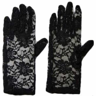 Zeetaq Women's Ladies Lace Gloves Wedding Hen Night Fancy Partyu Dress Elegant Burlesque (Black Short One Size)