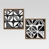"Threshold Mud Cloth IV & III Framed Canvases 12""x12"" 2pk"