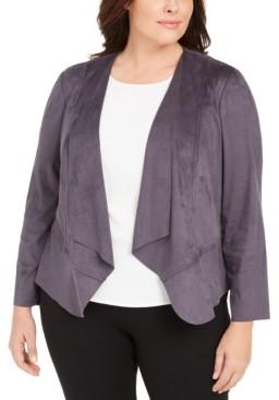 Anne Klein Plus Size Faux-Suede Draped Jacket