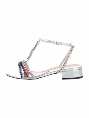 Gucci Bertie Leather T-Strap Sandals w/ Tags Silver