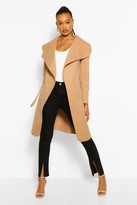 boohoo Kate Belted Shawl Collar Coat camel