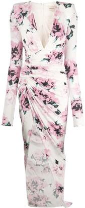 Alexandre Vauthier Rose-Print Ruched Dress