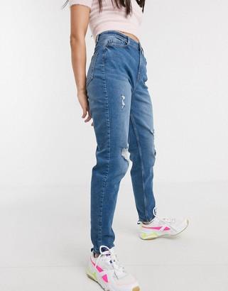 Pieces Kesia high waisted boyfriend jeans in blue