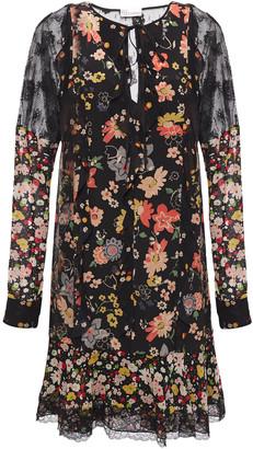 RED Valentino Lace-trimmed Floral-print Silk Crepe De Chine Mini Dress
