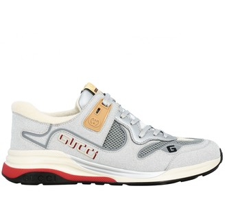 Gucci G Line Sneakers In Glitter Leather And Mesh With Embroidered Logo