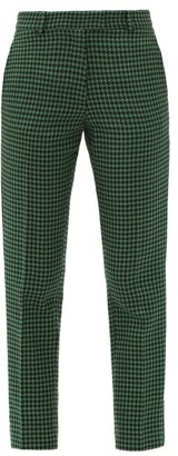 Racil Aries Cropped Houndstooth-check Tweed Trousers - Black Green