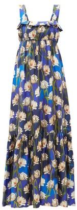 Borgo de Nor Amina Floral Print Silk Twill Maxi Dress - Womens - Navy Multi