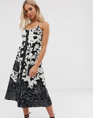 Heartbreak floral midi dress in monochrome-Black