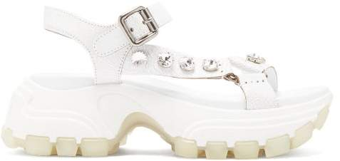 Miu Miu Crystal Embellished Raised Sole Leather Sandals - Womens - White