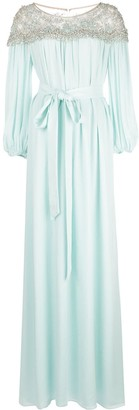 Marchesa Georgette silk kaftan-style evening dress