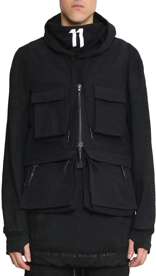 11 By Boris Bidjan Saberi Cotton Blend Zip-up Layered Vest