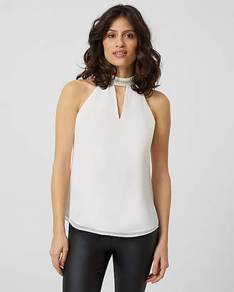 Le Château Embellished Halter Neck Sleeveless Blouse